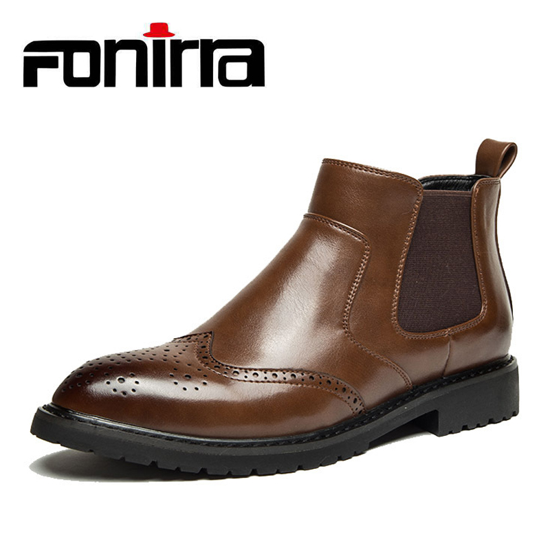 FONIRRA 2019 New Chelsea Boots Men PU Leather Luxury Men Ankle Boots Bullock Boots Men British Style Motorcyc Man Shoes 613