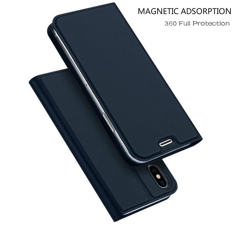 Magnetische Spannung Flip Brieftasche Fall Für iPhone 7 7 Plus 8 8 Plus 6 6 s s Plus X XR XS Max 5 5 s SE Leder Karte Halter Abdeckung Bücherregal