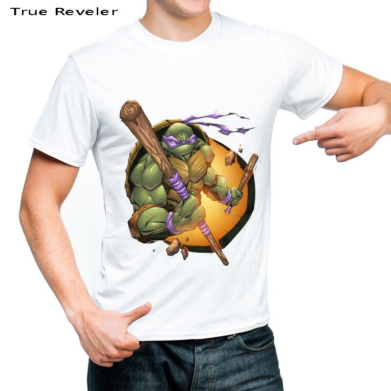 True Reveler Brand clothing Turtles t shirt men short sleeve summer 100% cotton Ninja t shirt man Young students tops tee