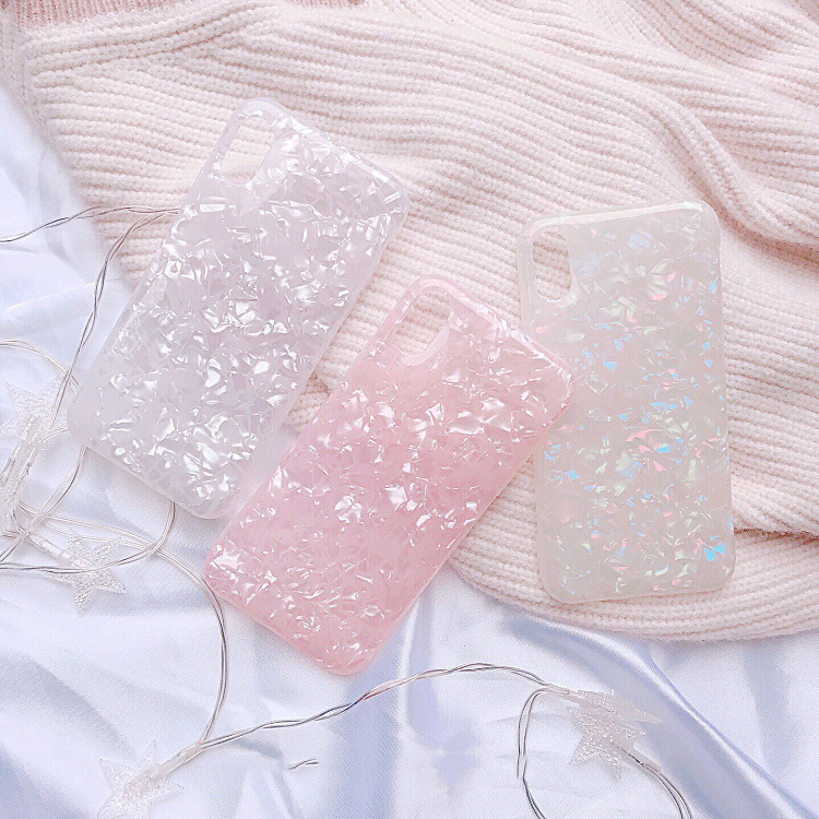 Luxury Shining Shell Soft TPU Phone Case For iPhone X 6 6S Plus 7 7Plus 8 8Plus Bling Soft IMD lovely Conch Shell Back Cover