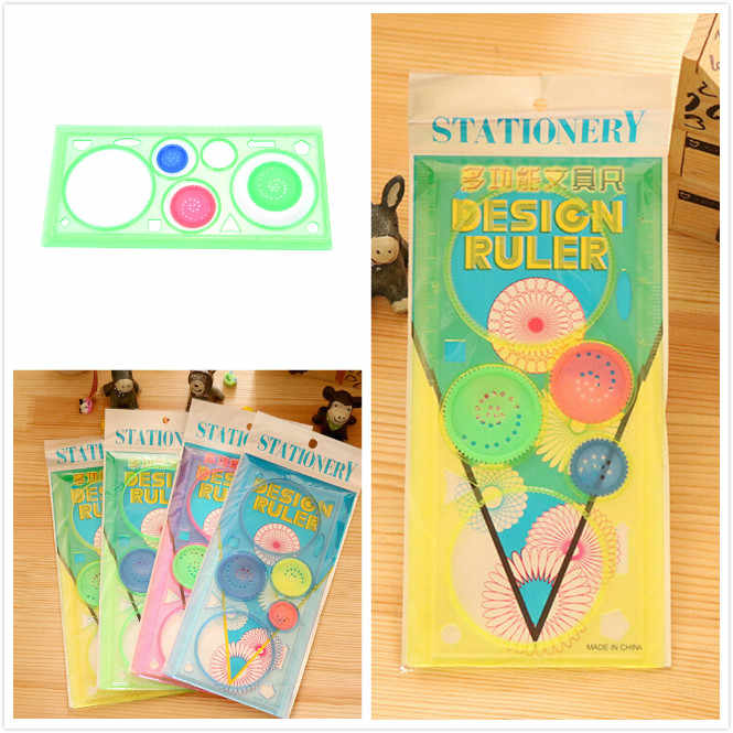 Practical Spirograph Multifunctional Geometric Ruler Drafting Tools Stationery Students Drawing Toys Supplies 20cm*9.9cm