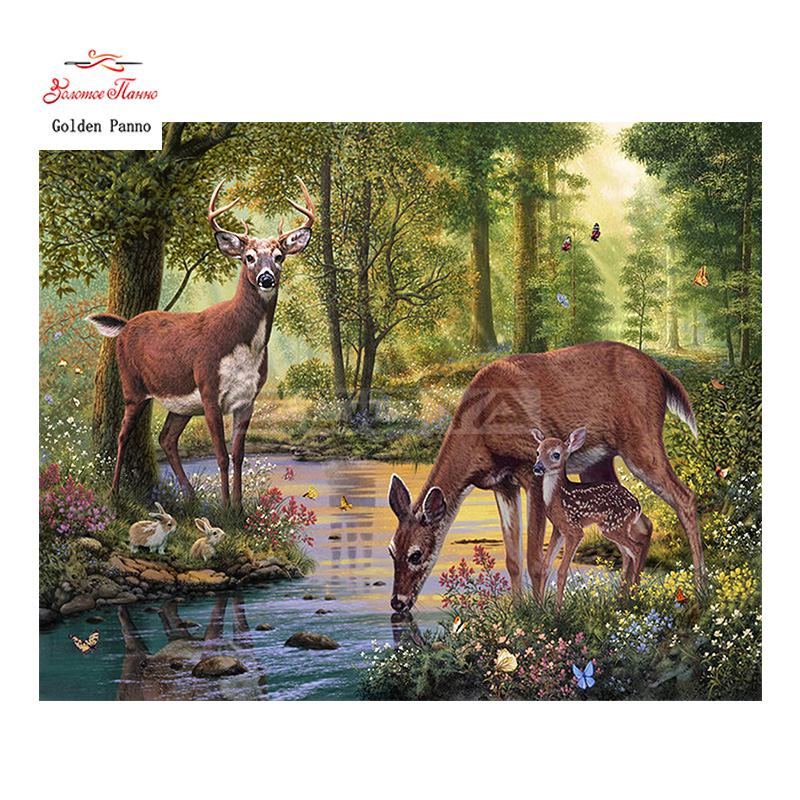 Golden Panno,Needlework,DIY DMC Cross Stitch,Sets For Embroidery Kit 14ct Unprinted Deers Cross-Stitching,christmas 0109
