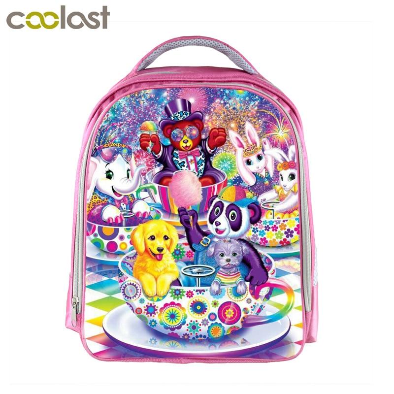 13 дюймов с рисунком панды/медведь/кролик/слон рюкзак для Обувь для девочек детей Школьные ранцы Kawaii Мяуканье Кошки детский розовый