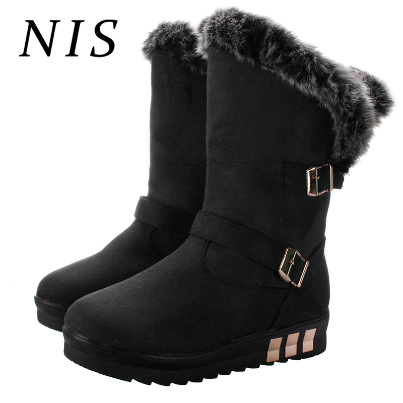NIS Platform Winter Boots Women Shoes Casual Slip On Shoes Woman Faux Suede Leather Fur-lined Mid-calf Boots Bottines Femme New недорго, оригинальная цена