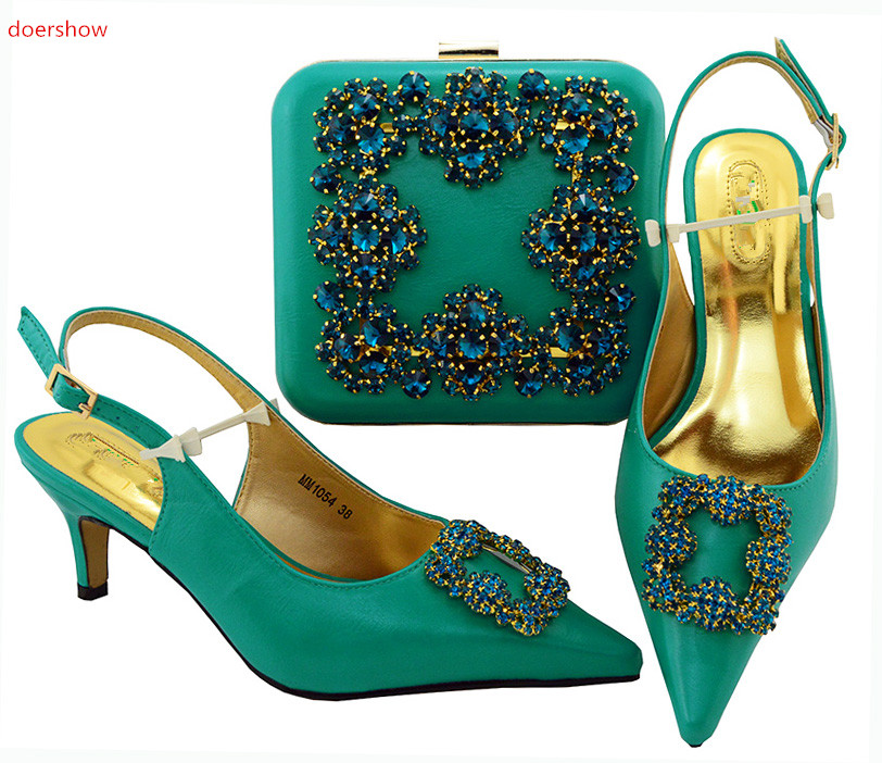 doershow Shoe and Bag Set New 2018 Women Shoes and Bag Set In Italy teal Color Italian Shoes with Matching Bags Set SIU1-6