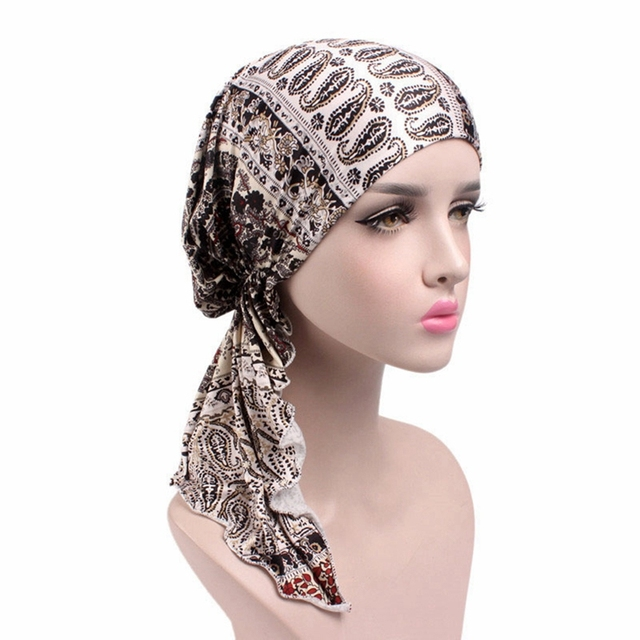 6b88809cf7c Fashion Scarf Hat Easy Tie Padded Cotton Lined Turban Hat Headwear Muslim  hat one size