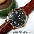Mode 44 MM Schwarz Sterile Zifferblatt Braun Lederband 17 Juwelen 6498 Handaufzug Bewegung herren Uhr P253 Mechanische Uhren    -