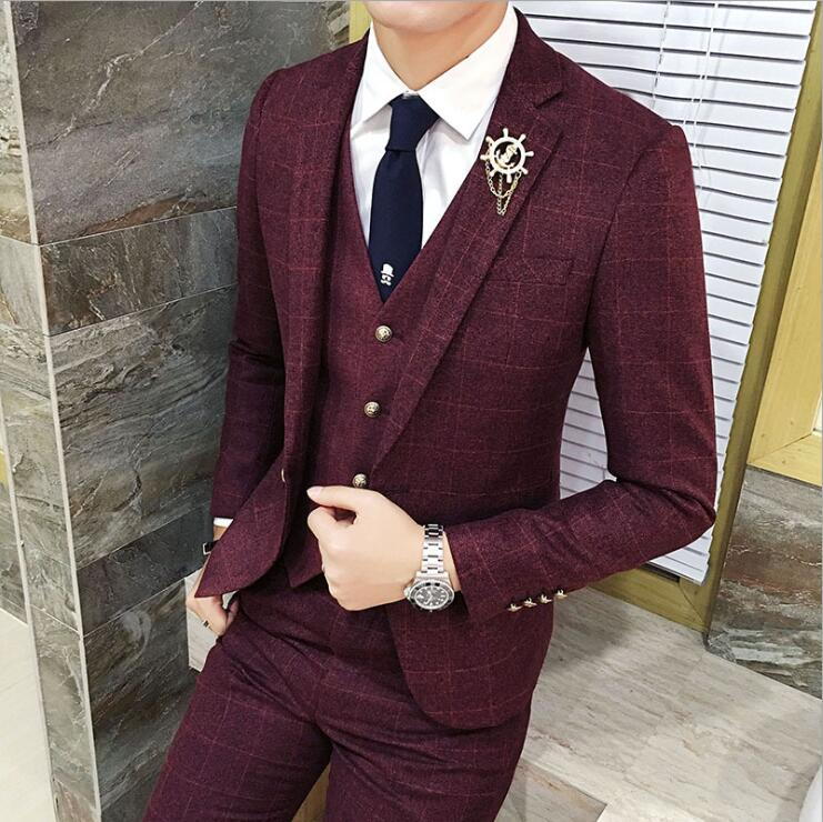2019 New Men Plaid Groom Marriage Suit 3 Pieces Tuxedo Slim Fit for Business and Wedding Dress Suits Blazer Pant and Vest S-3XL