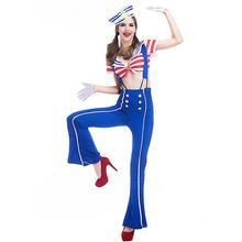 Сексуальный женский крутой матросский костюм топы и длинные штаны полосатая военно-морская форма озорная Хэллоуин вечерние Косплей костюмы моряка костюм
