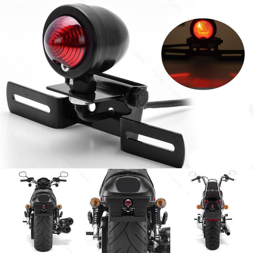 Universal Universal Motor Motorcycle Tail Light And License Plate Holder Turn Signals Brake Stop Lights Cafe Racer