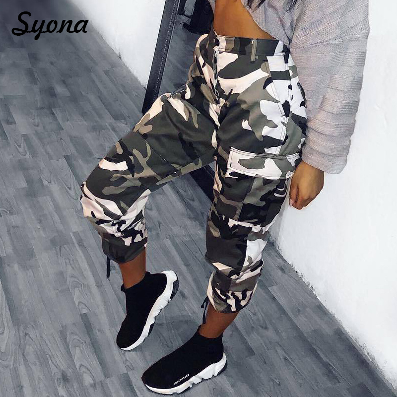 Female CAMO PANTS CAPRI Sweatpants Trackpants CAMOUFLAGE PANTS Army Track Trousers Cargo Joggers Women High Waist Summer White