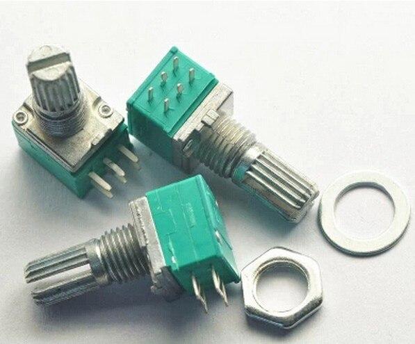 Усилитель звука B50K RK097G, герметичный двойной потенциометр, вал 15 мм, 6 контактов, 10 шт.