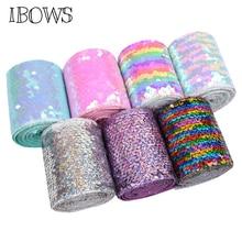 IBOWS 2yards 75mm Reversible Sequin Ribbon Laser Rainbow Handmade Bow DIY Hair Bows Materials Wedding Decoration