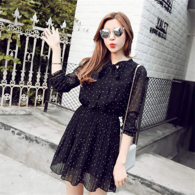 383e38225 Plus Size Elegant Black Chiffon Dress 2018 Women Korean Fashion Bandage Bow  Dot Pleated Dresses Vintage Casual Long Sleeve Dress