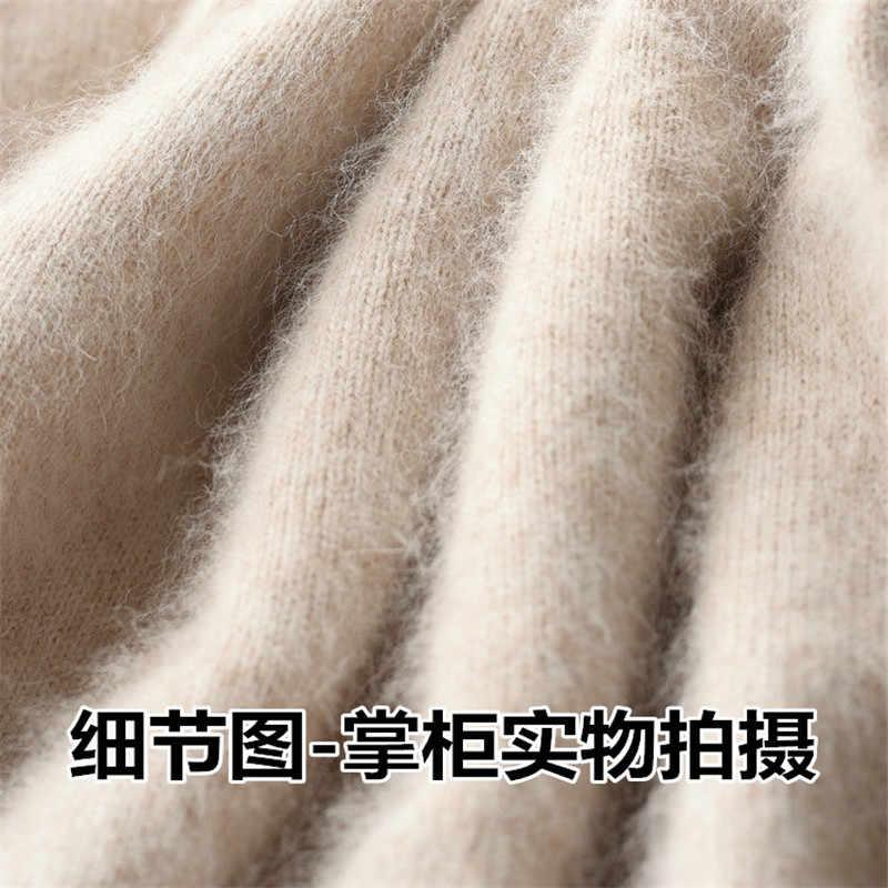 가을과 겨울로드 더미 칼라 캐시미어 스웨터 여성 느슨한 머리 솔리드 컬러 니트 바닥 스웨터 짙어지면서