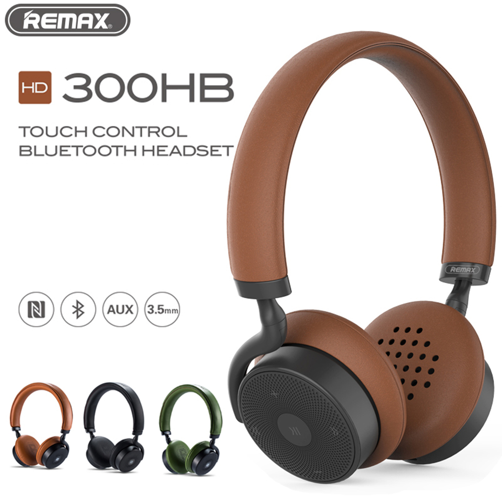 все цены на REMAX 300HB Bluetooth Touch control Wireless Headset Leather Ear Pad Remote Headphone 3D Sound Bass with NFC 3.5mm microphone онлайн