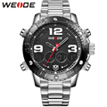 WEIDE Watch Men Sport Digital Quartz Dual Movement Multifunction Water Resistant High Quality Stainless Steel Bracelet Watches