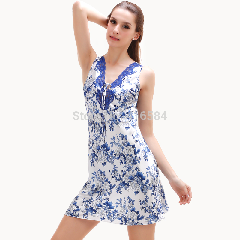 Vest Silk Nightgowns for Women Summer Sleepwear - Ladies Satin Sleepwear Home Clothing - Chinese Style Blue and White Porcelain