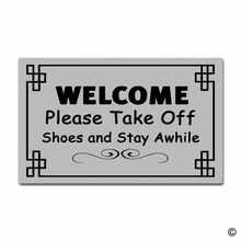 Rubber Doormat For Entrance Door Floor Mat - Welcome Please Take Off Shoes And Stay Awhile Non-slip 23.6 inch