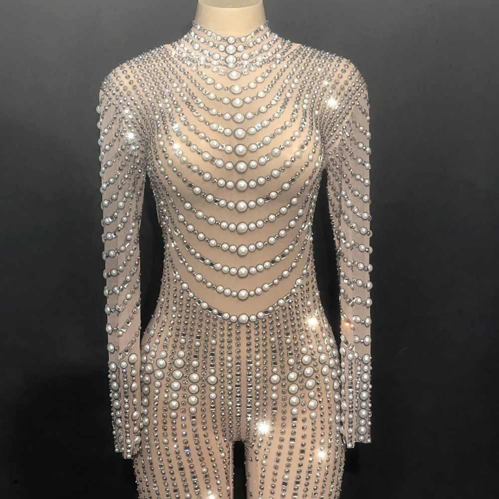 80f2c14dd9 Women Sexy Stage Bling Dj Jumpsuit Net Yarn Full Of Sparkling Crystals  Pearls Bodysuit Nightclub Party Dancer Singer Stage Wear