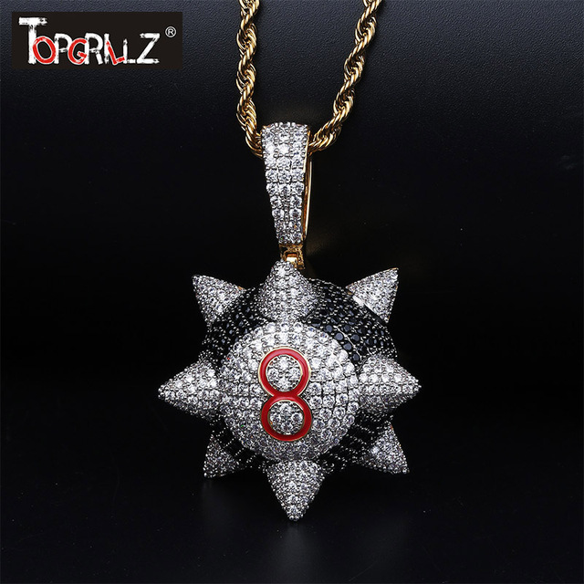 TOPGRILLZ New Iced out Trippieredd Inspired Spike 8 ball Billiard  Pendant Necklace With Tennis Chain Hip hop Jewelry