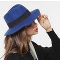 Retro 100% Otoño Invierno de Lana de Ala Ancha Floppy Trilby Fieltro Bowknot Sombrero Para El sol Para Womem Elegante Tapa de Las Señoras Cloche Hat Fedora 25
