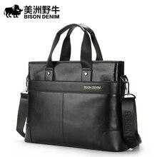 BISON DENIM Brand Genuine Leather Handbag Men Shoulder Bags Business Briefcase Laptop Bag Crossbody Bag Men's Messenger Bag