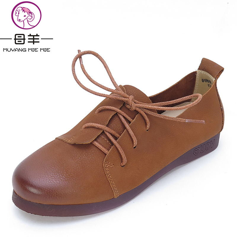 MUYANG MIE MIE Women Flats Fashion Lacing Casual Shoes Woman Genuine Leather Comfortable Flat Shoes Women Shoes muyang mie mie genuine leather women shoes woman casual flower single flat shoes soft comfortable women flats