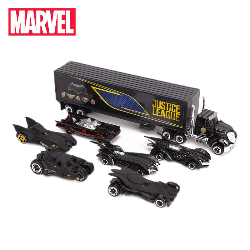 Exclusive Set Of 7 Marvel Toys Justice League Batman Car Truck 1:55 Diecast Metal Car Model Boys Gifts Superheros Car Toy