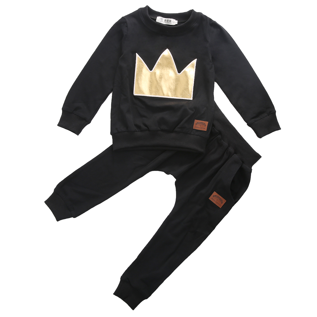 New Year Baby Toddler Boys Girls Long Sleeve Crown Stitched Tops T shirt Leggings Outfits Set