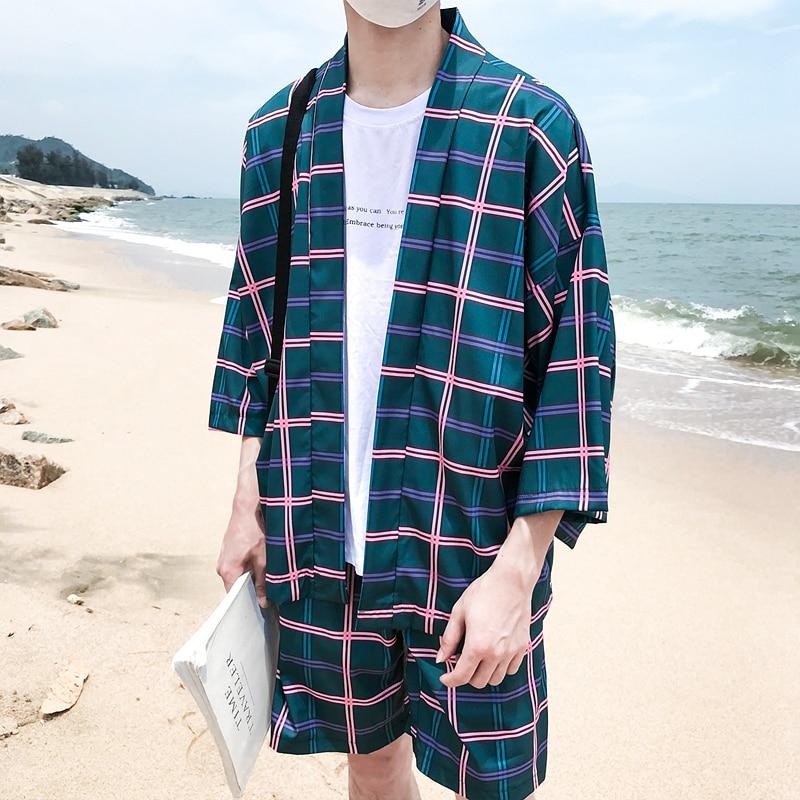 Chaqueta Verano Hombres Prueba Cuartos Playa Kimono Tres Plaid Sol Manga Chaquetas Impreso Delgada De Los xpExHX