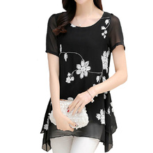 Summer Tops for Women 2018 Summer Chiffon Blouses Vintage Embroidery Plus Size M~3XL Casual