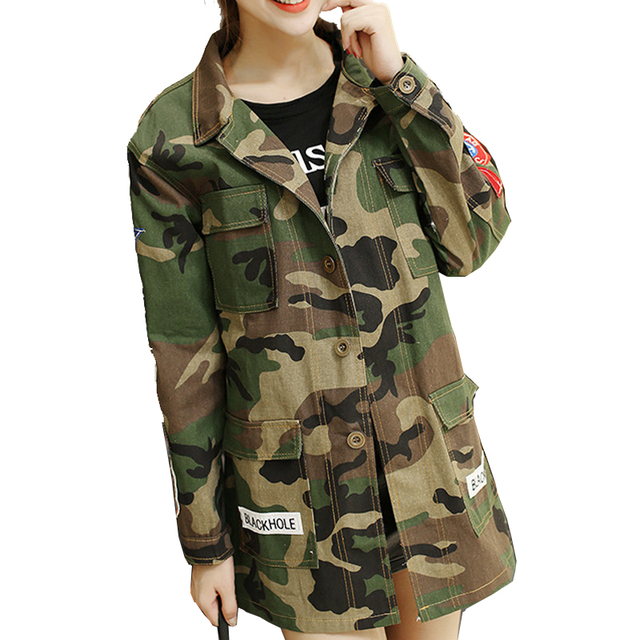 BF Style Autumn Winter American Camouflage Camo Jacket Military Fatigues Restoring Pockets Army Green Jackets Coats for Women