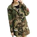 Estilo BF Otoño Invierno Chaqueta de Camuflaje Uniforme Militar de Camuflaje Americano Que Restaura Bolsillos Ejército Verde Chaquetas Abrigos para Las Mujeres