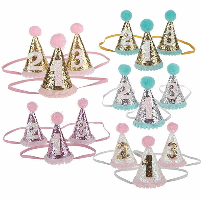 Baby Geburtstag Party Stirnband Mädchen Kinder Kegel Geometrie Party Decor Hüte 1st 2nd 3rd Jahr Alt Caps Kind Prinzessin Haar zubehör