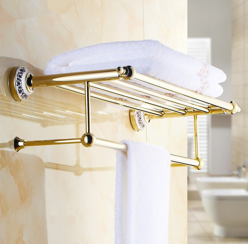 2016 Luxury Gold Design Towel Rack,Modern Bathroom Accessories Towel Bars Shelf ,Ceramic Base Towel Holder /toalheiros