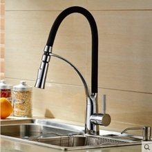 Hot Sale Black Chrome Finish Kitchen Faucet Mixer Pull Out Tap Deck Mounted NEW
