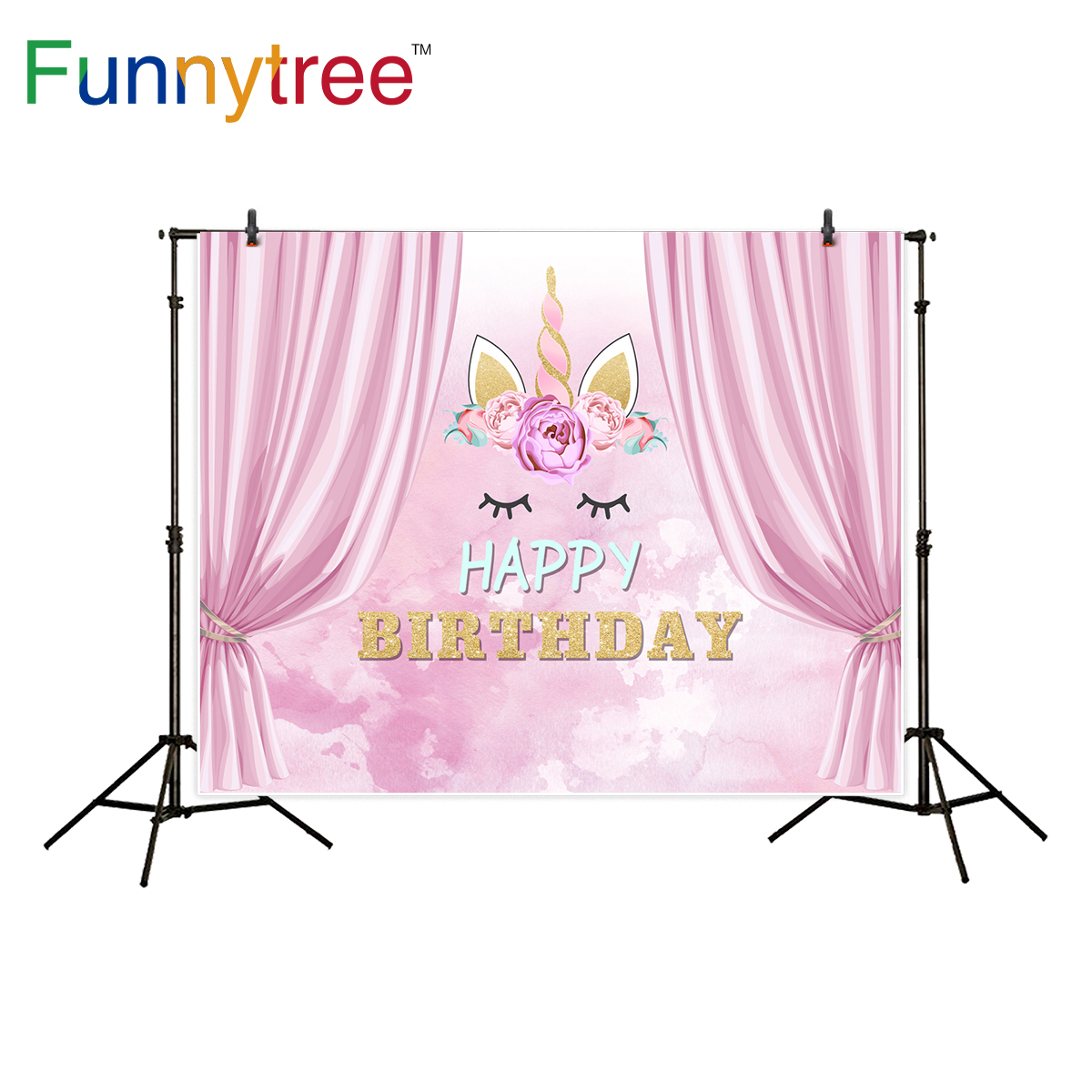 Funnytree unicorn backgrounds for photo studio birthday watercolor flower curtain photographic backdrop photocall printed