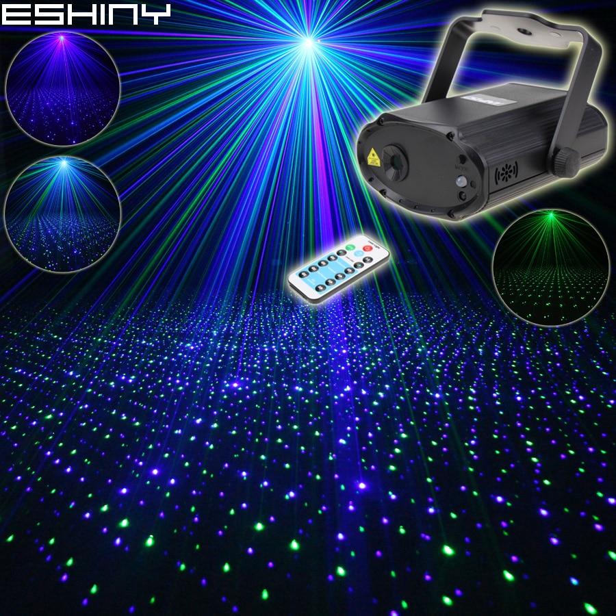 ESHINY Remote MINI Blue Green Laser Full Stars Patterns Projector DJ Dance Disco Bar Family Party