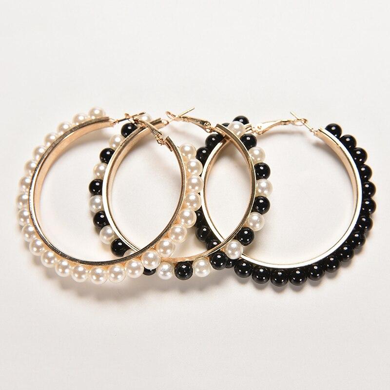 1 Paar Neue Frauen Mädchen Schmuck Hoop Ohrring Schwarz Weiß Perle Ohrring Mit Edelstahl Pin Großen Kreis Schleife Ohrringe