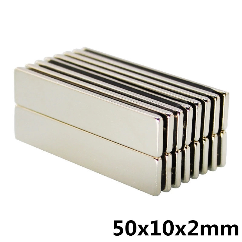 5pcs 50mm x 10mm x 2mm Strong Powerful Block Square Magnet Craft Model Rare Earth 50*10*2 Neodymium Permanent Magnet 50x10x2 image