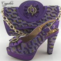 Capputine Hot Sale African Rhinestones Purple Color Shoes And Bag Set Italian Shoes With Matching Bags