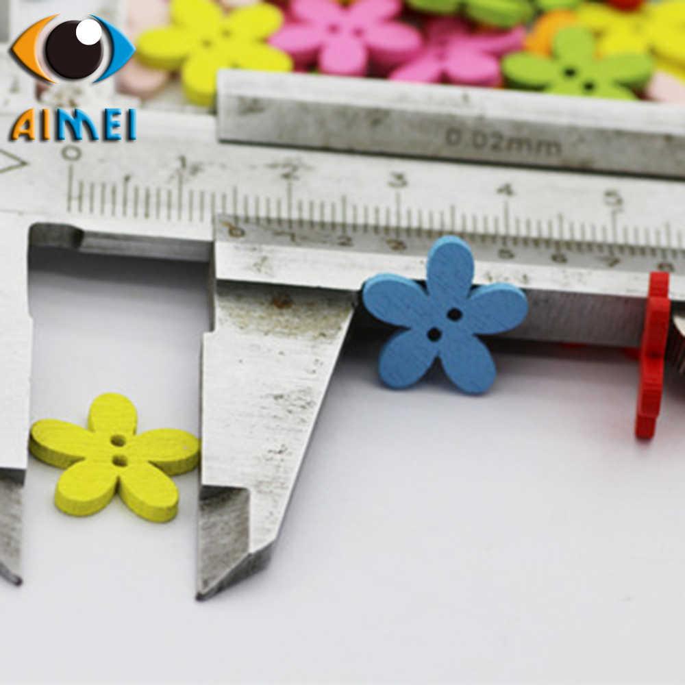 100 szt. Wielobarwna średnica 1.5cm kwiaty drewniane guziki do szycia odzieży drewniany przycisk na akcesoria do rękodzieła do prac ręcznych