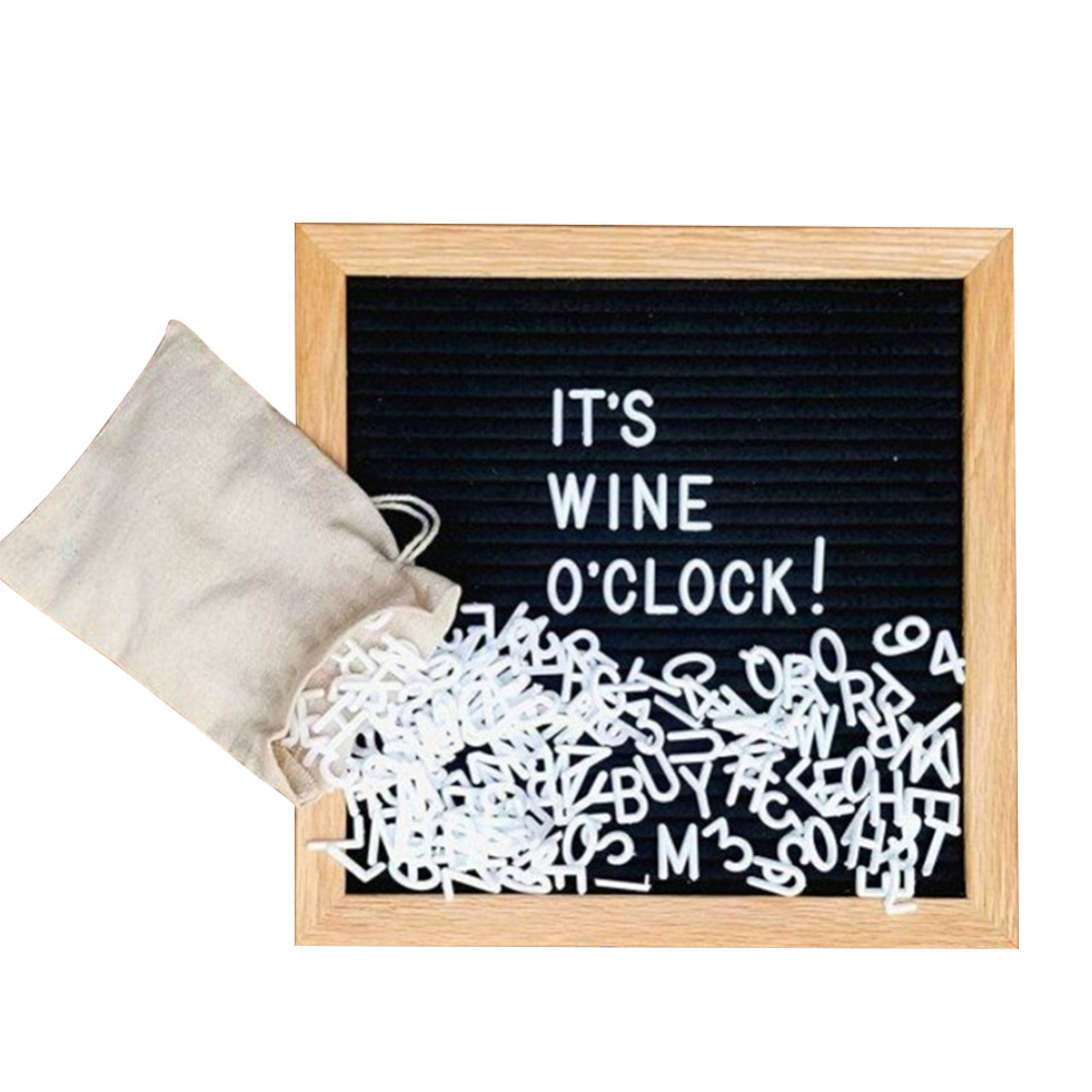 Felt Letter Message Board Oak Frame White Letters Symbols Numbers Characters Bag Drawing Board
