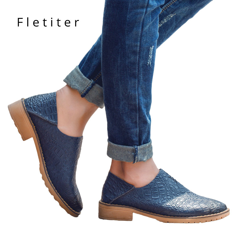 Spring Casual Shoes Solid Flats Women Flat Platform Slip on Round Toe Concise Genuine Leather Leisure Ladies Oxfords Fletiter beffery 2018 spring patent leather shoes women flats round toe casual shoes vintage british style flats platform shoes for women