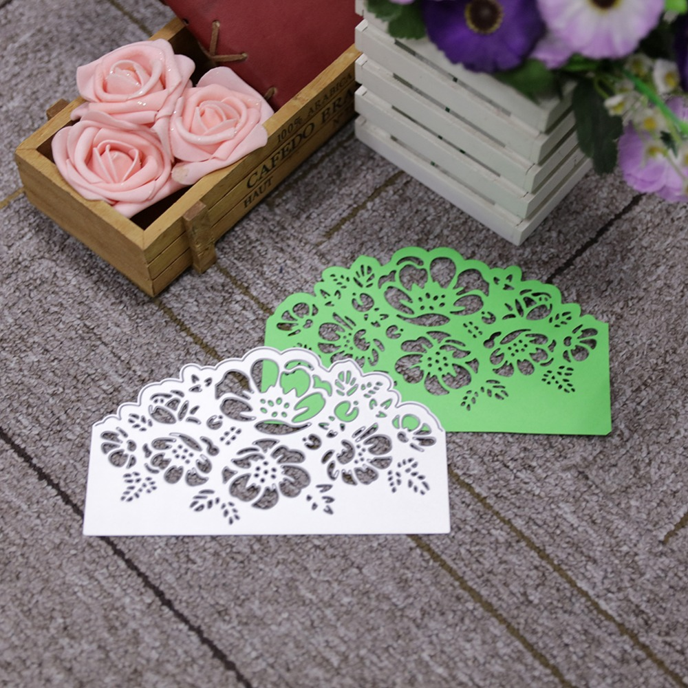 Flower Background Metal Cutting Die Decor Scrapbooking Embossing Border Template