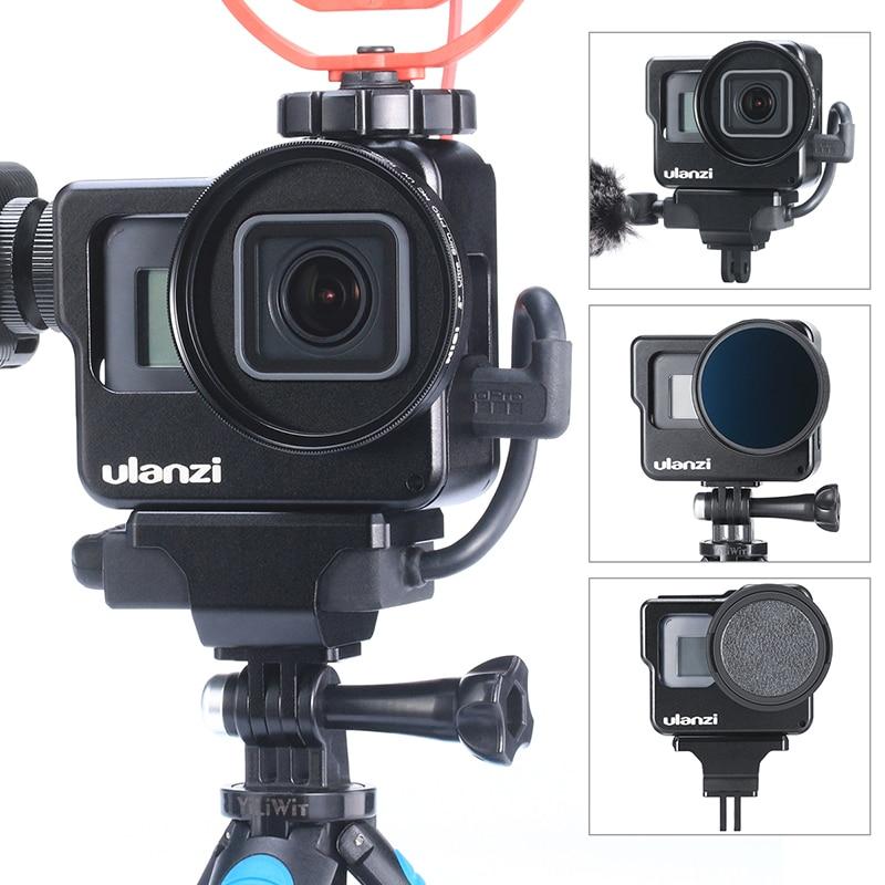 Ulanzi v2 v3 pro vlog caixa de gaiola de metal para gopro 7 6 5 vlogging caso com 52mm lente filtro adaptador mic caso sapato frio para mic