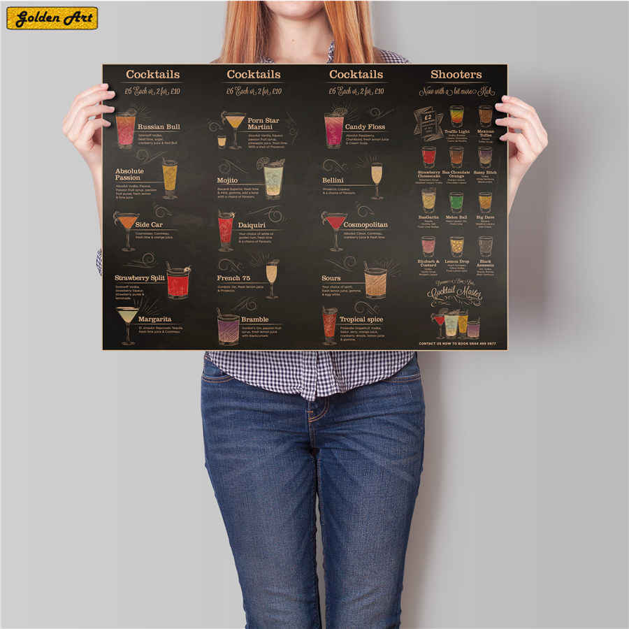 Cocktails CHART Vintage Bar pub poster Drink wall sticker Beer Wine Painting decor retro art paint prints picture 45.5x31.5cm