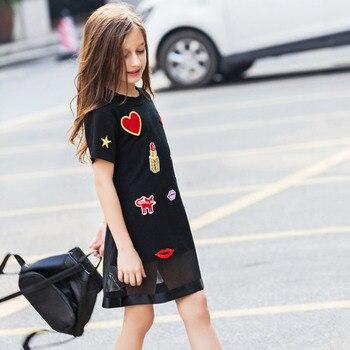 88c6a8564310b9a Детское платье для девочек-подростков, летнее Повседневное платье для девочек  6, 8, 10, 12, 14, 16 лет, черные платья с аппликацией «любовь», детска.