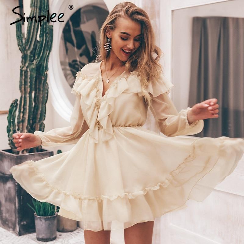 Simplee Сексуальное Женское Платье с v-образным вырезом и оборками, Элегантное летнее вечернее платье с сетчатой подкладкой и длинным рукавом, ...